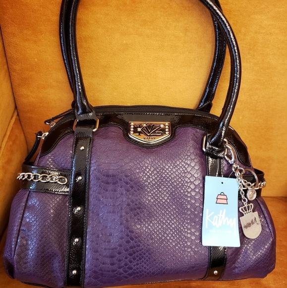 37ca361e27 Kathy Van ZeelandPurple Faux Leather Purse Handbag